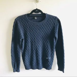 Navy Blue Cable Knit Fisherman Warm Sweater Jumper